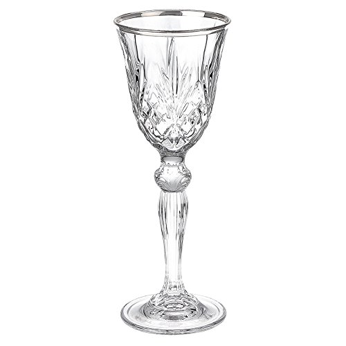 Lorren Home Trends Dynasty Collection Crystal Cordial Liquor Glass with Silver Band Set of 6