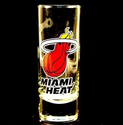 Miami Heat NBA Licensed Glass Cordial Logo Hype Shot Glass 2 Oz Team Logo