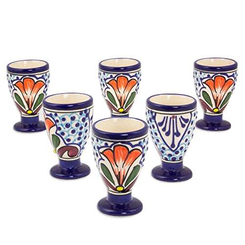 NOVICA TWE0222 Radiant Flowers Set of 6 Ceramic Cordial Glasses Blue