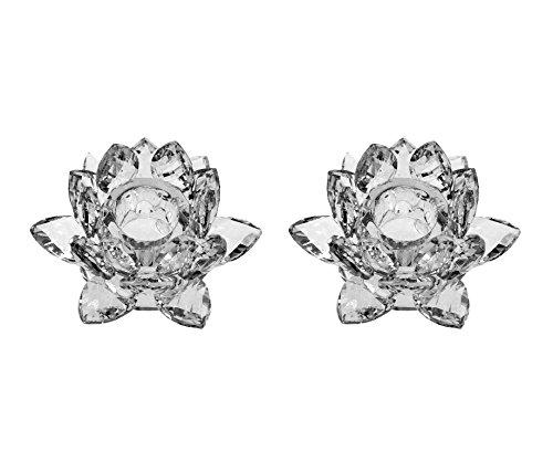 Amlong Crystal 3 Clear Lotus Candlesticks Holder Set of 2