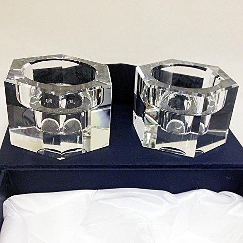 Amlong Crystal Octagon Candlesticks or Tealight Holder Set of 2