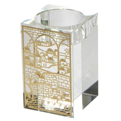 Elegant Crystal Candlesticks with Gold Metal Filigree Jerusalem Designs for Shabbat and Holidays