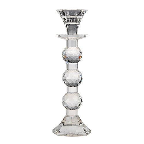 H&D Clear Decor Pillar Crystal Candlestick Holder Dinning House Accessory Clear-1