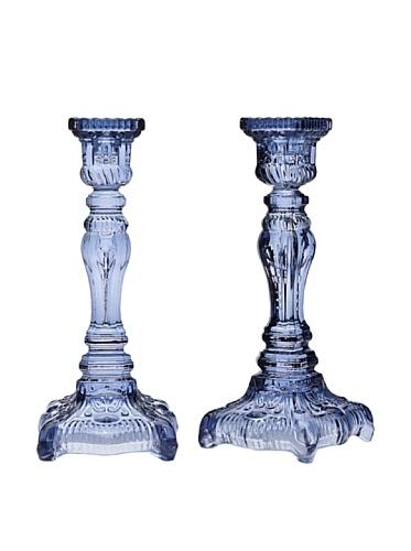 Yorktown Blue Crystal Candlesticks - Set OF 2