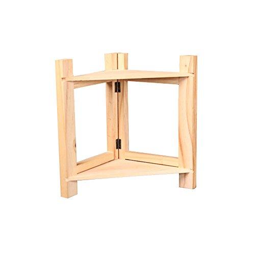 Romote Wooden 2 Tier Spice Rack 12 x 85 x 116inch Triangle Folding Storage Rack