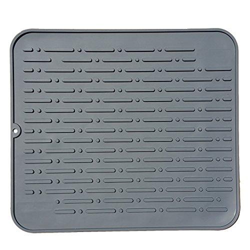 Lumenon Premium XL Silicone Dish Drying Mat  Anti-Bacterial Dish Washer Safe  Heat Resistant Trivet  178 x 158 inch Grey