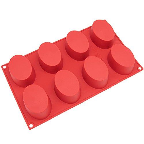 Freshware Sl-118rd 8-cavity Oval Silicone Mold For Soap, Cake, Bread, Cupcake, Cheesecake, Cornbread, Muffin,