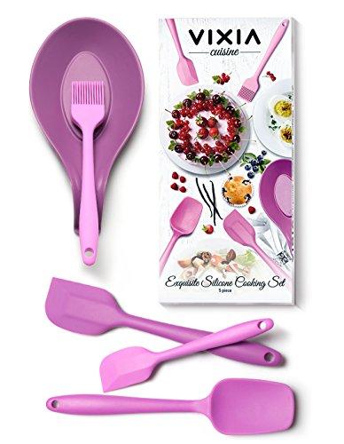 Vixia Dishwasher Safe Silicone Spatula Set Of 5 Kitchen Utensils. Heat Resistant Set Includes Large Spatula, Mixing