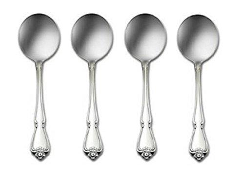 Oneida True Rose Round Bowl Bouillon Spoon, Set Of 4