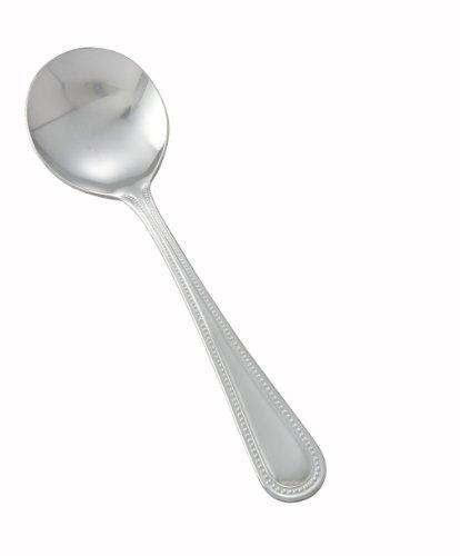 Winco 0005-04 12-piece Dots Bouillon Spoon Set, 18-0 Stainless Steel