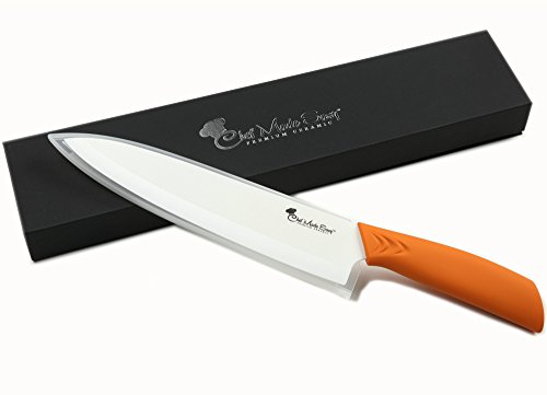 Chef Made Easy Ceramic Chef's Knife 8 Inch -cutlery Kitchen Chef Knife With Elegant Gift Box And Custom Sheath