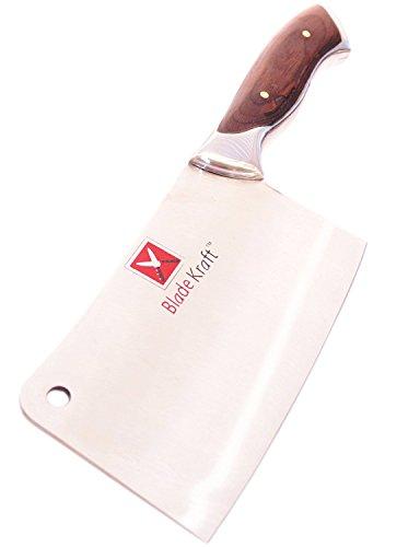 BladeKraft Imported Elegant Series Butchers Meat Cleaver Chefs Kitchen Knife Full Tang Blade Carved Wooden Handle - Walnut