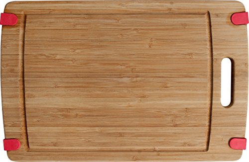 Cc Boards Nonslip Bamboo Cutting Board: Wooden Kitchen Chopping Block With Handle, Groove For Juice Well And Non