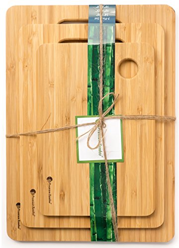 #1 Best Bamboo Cutting Board Set. A Set Of 3 Chopping Boards With Large Cutting Room. Strong Wood Cutting Boards
