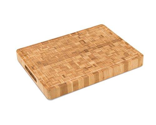 Large End Grain Bamboo Cutting Board | Professional, Antibacterial Butcher Block | Non-slip Rubber Feet