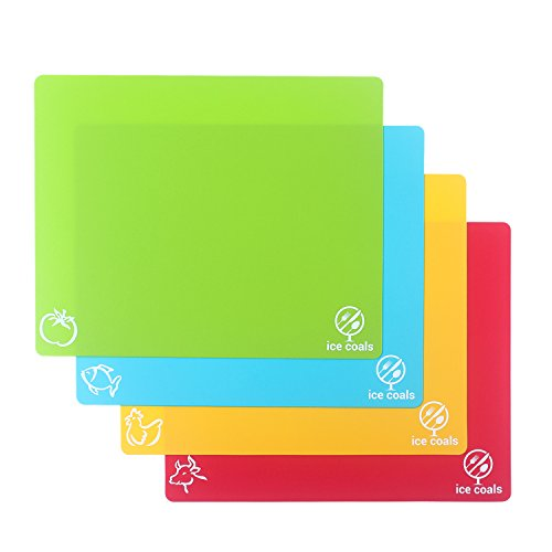 Easter Sunday Sale ! Flexible Chopping   Cutting Board Set Of 4 Unique 15''x12'' Table Pads With Anti-microbial