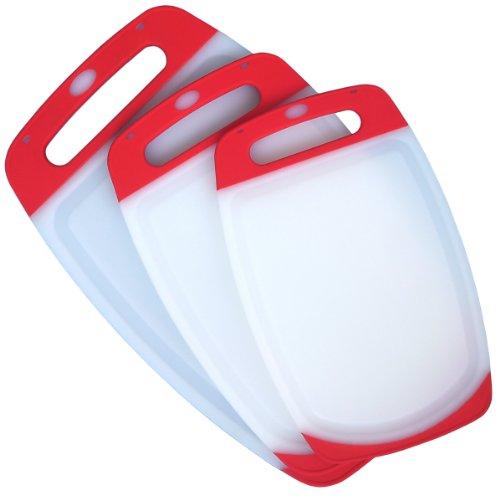 3 Piece Plastic Cutting Board Set - Acrylic Polypropylene Plastic - Dishwasher Safe - 3 Plastic Chopping Boards