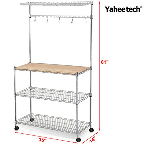 Yaheetech Steel Bakers Rack With Cutting Board And Storage Kitchen Work Station