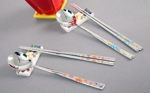 2 Set Of Korean Stainless Steel Spoons And Chopsticks Flower Pattern