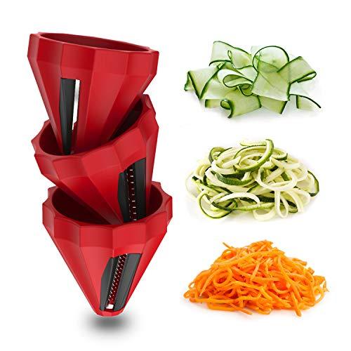 Geedel Spiralizer Vegetable Slicer - 3 Set Compact Handheld Spiralizer Zoodles Veggie Zucchini Spaghetti Pasta Maker For Carrots Zucchini Squash Radishes Cucumber