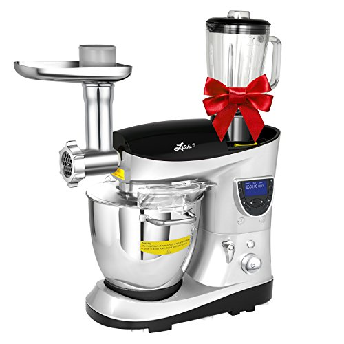 Litchi Cooking Mixing Stand Mixer 74 Quart Multifunctional Kitchen Electric Mixer with Meat Grinder Blender Sausage Stuffer Beaters Silver