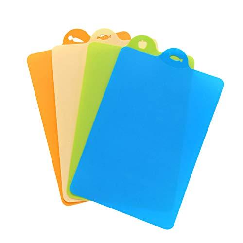 BESTONZON 4pcs Flexible Silicone Cutting Board Mats Colorful Kitchen Cutting Board Non Slip Food Grade Antimicrobial Non-Toxic Color Randomization