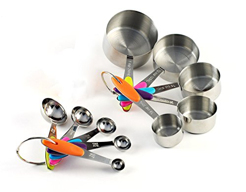 Loymr 10 Piece Solid Sturdy Stainless Steel Measuring Cups And Spoons Measure Dry And Liquid Ingredients With