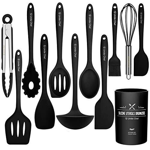 Kitchen Utensil Set- Cooking Utensils-Silicone Kitchen Utensils -Umite Chef Nonstick Cookware with Spatula Set - Colored Best Kitchen Tools Kitchen Gadgets with Utensil CrockBlack Black
