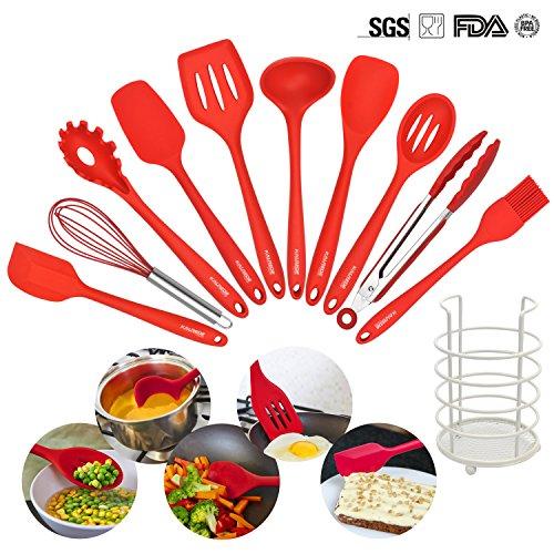 KALREDE Silicone Kitchen Utensils Set-11 Piece Non stick Cooking Utensils Set - kitchen Tool kit with Utensils Holder- For PansPots Cooking&BakingRed
