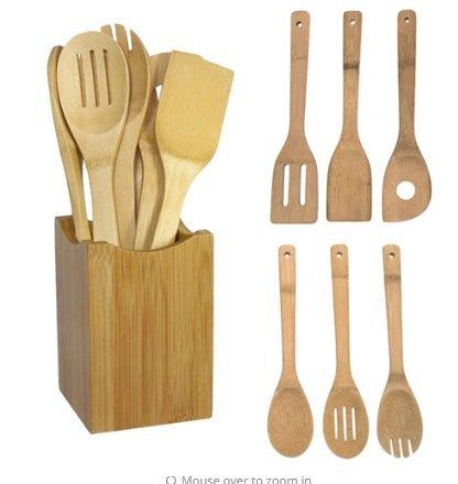 kitchen tools 6pcs Bamboo Spoon Spatula Kitchen Utensil Wooden Cooking Tool Mixing Set