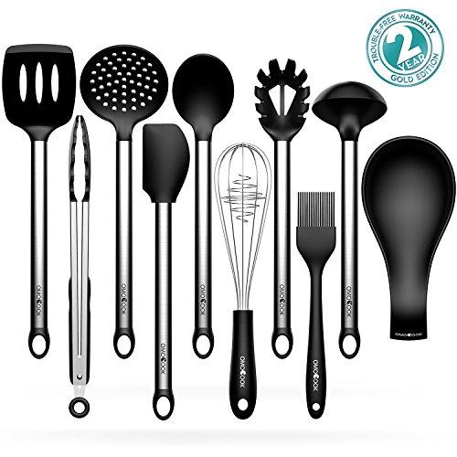 Kitchen Utensils Sets Omocook 10-pc Essential Cooking Utensils Gadget Set Stainless Steel and Black