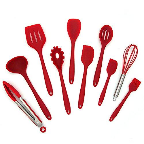 Set of 10 PCS Kitchen Utensils Set Non Stick Cooking Utensil Heat Resistant Silicone Baking Silicone