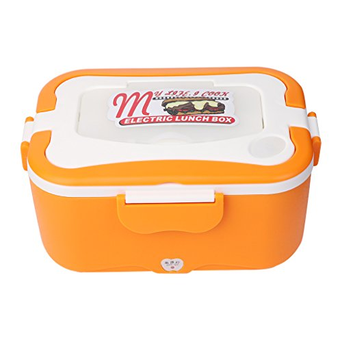 AllrisePortable 12V Car Electric Heating Lunch Box Stainless steel Rice Cooker Food Warmer 15L 45W Orange