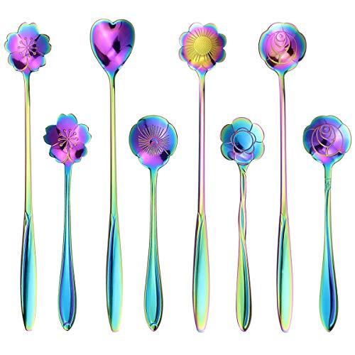 SelfTek 8Pcs Rainbow Flower Spoon Set 2 Different Size Colorful Stainless Steel Teaspoons Rainbow Coffee Stirring Spoon for Christmas Thanksgiving Birthday Anniversaries
