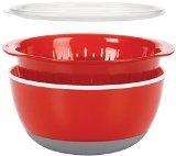 Oxo 3 Piece Bowl And Colander Set, Medium, Red