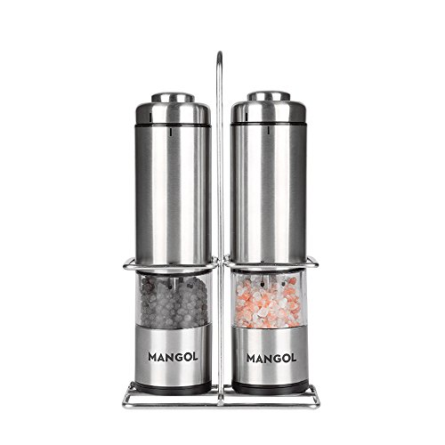 Electric Salt and Pepper Grinder Mill Stainless Steel Battery Operated Salt and Pepper Shaker Set of 2 with Adjustable Ceramic Rotor and Complimentary Mill Stand for Kitchen and Dining