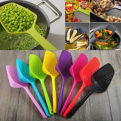 BIRD WORKS Fashion Large Scoop Colander Pasta Heat Resistant Strainer Kitchen Utensil Drain Pasta Vegetables Serve Poached Eggs Fried Food Blue