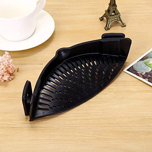 BIRD WORKS Silicone Pot Filter Kitchen Clip Pot Filter Drain Excess Liquid Drain Pasta Vegetable Cookware Kitchen Tools Black
