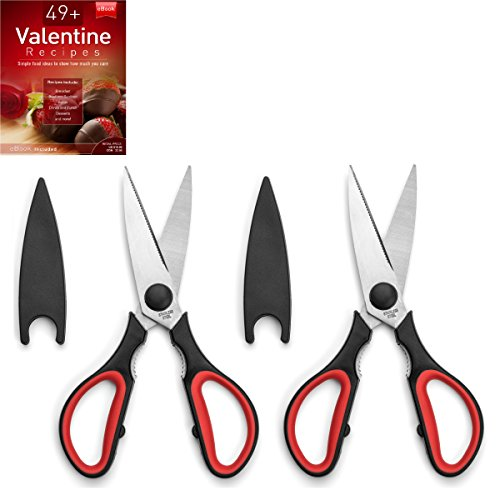 Ultra Sharp Kitchen Cooking Scissors Heavy Duty Serrated Stainless Steel Shears Set of 2 Protective Cap Dishwasher Safe Plus Cooking Secrets eBook