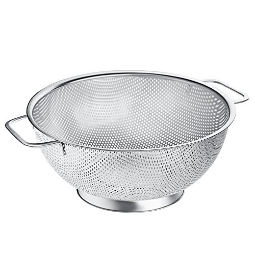 Up Colander Strainer - 5-Quart Stainless Steel Kitchen Spaghetti Strainer with Non-Slip Handle Stable Base - Micro-perforated Non-Toxic Dishwasher Safe Metal Drainer for Noodles Fruits Vegetables