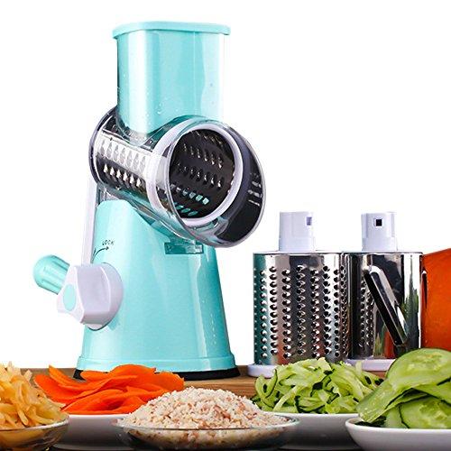 VOSHI Manual Vegetable Cheese Cutter Drum Grater Mandoline Chopper Shredder Grinder Kitchen Spiral Slicer Vegetable Fruit Spiralizer with 3 Cylinders Stainless Steel Brades