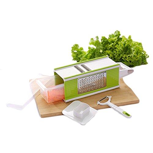 Lifebe Kt 4-sided Hand-held Grater Mandoline Slicer Set 5 In 1 With Tray And Peeler, Kitchen Vegetable Fruit Julienne