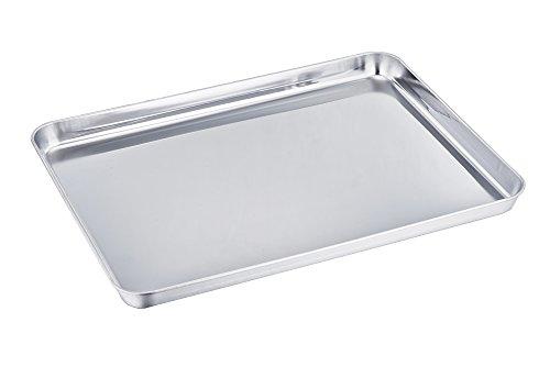 TeamFar Baking Sheet Stainless Steel Baking Pan Cookie Sheet Healthy Non Toxic Rust Free Less Stick Easy Clean Dishwasher Safe