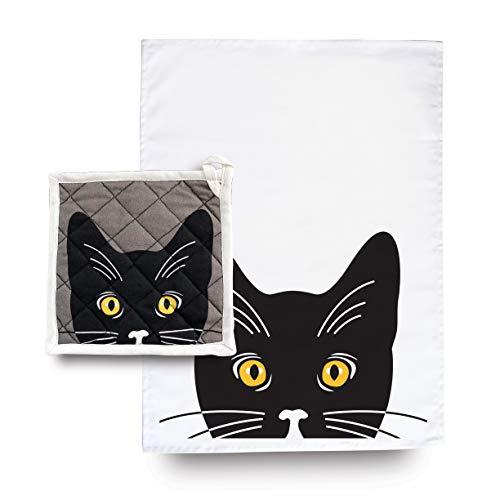 Naked Decor Yellow Eyed Cat Potholder Tea Towel Set
