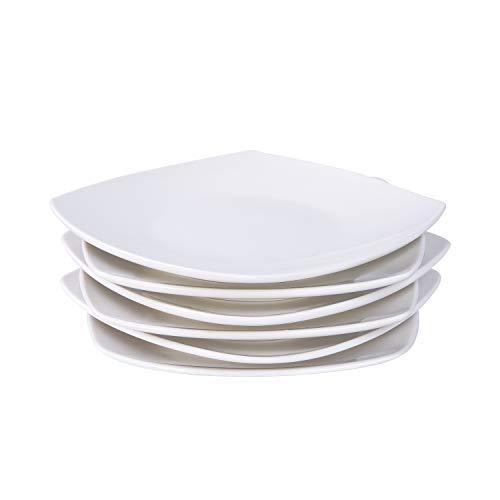 Cutiset 8 Inch Porcelain Square SaladDesert Dinner Plates Set of 6 White 8 Inch Square