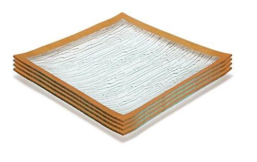GAC Set of 4 Elegant Tempered Glass Dinner Plates Square Glass Plate 115 Inch Break and Chip Resistant - OvenMicrowave Safe - Dishwasher Safe - Decorative Gold Border