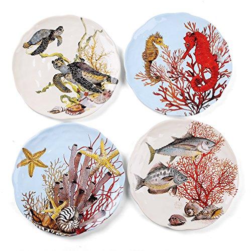 FORLONG FL8004 875 Turtle Starfish Fish Seahorse Coral Plate Porcelain Dinnerware Dinner Plates Set of 4