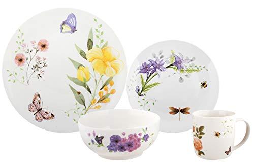 Melange 32-Piece Place Setting Premium Porcelain Dinnerware Set Butterfly Garden Collection  Service for 8  Microwave Dishwasher Oven Safe  Dinner Plate Salad Plate Soup Bowl Mug 8 Each