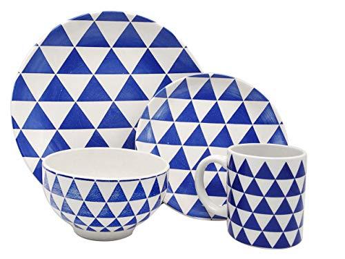 Melange Porcelain 32-Piece Dinnerware Set  Indigo Triangles Collection  Service for 8 Microwave Dishwasher Oven Safe  Dinner Plate Salad Plate Soup Bowl Mug 8 Each