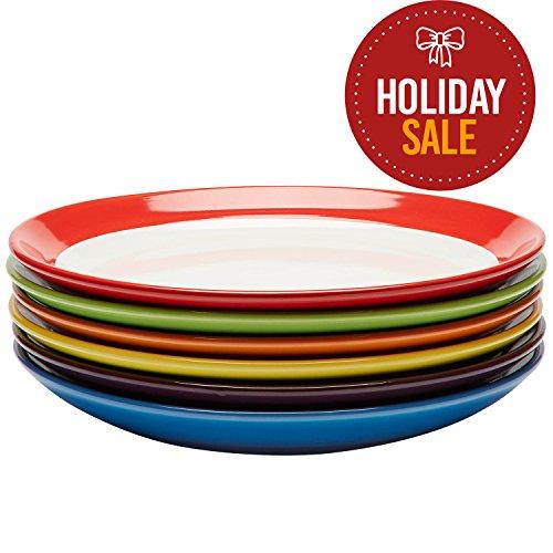 Premium Ceramic Set of 6 Colorful Meal Stoneware 6 Dinner Plates